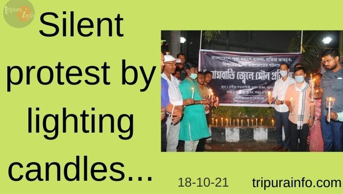 Silent protest by lighting candles
